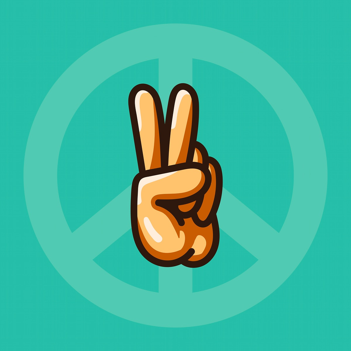 Hand making a peace sign illustration