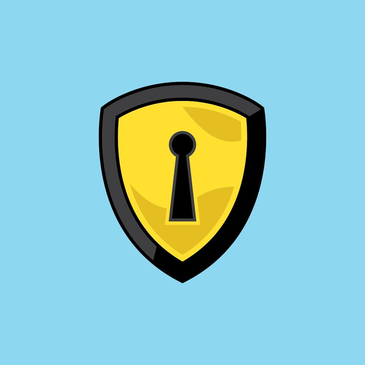 Shield with lock icon illustration