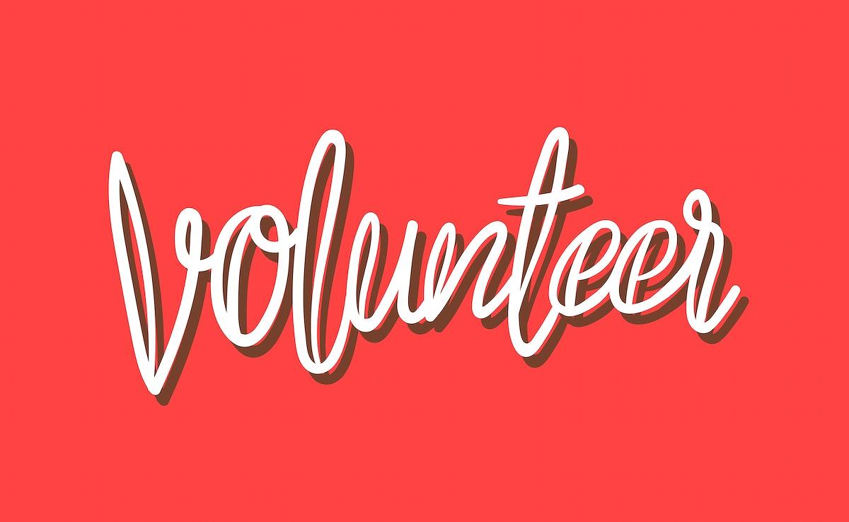 Handwriting Volunteer typography illustration style
