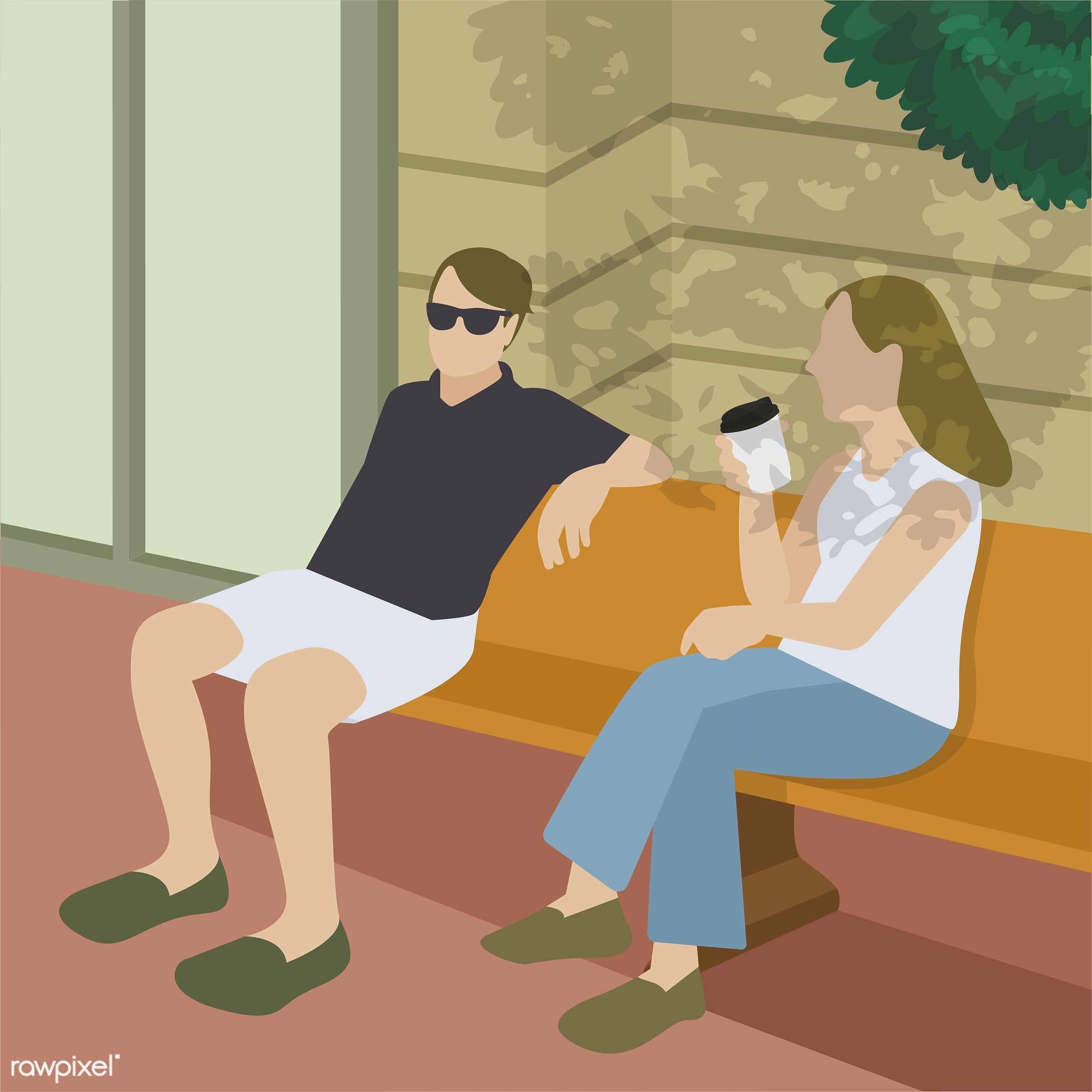 Friends having a coffee illustration - activity, break, character, city, city life, coffee, coffee cup, communication,...