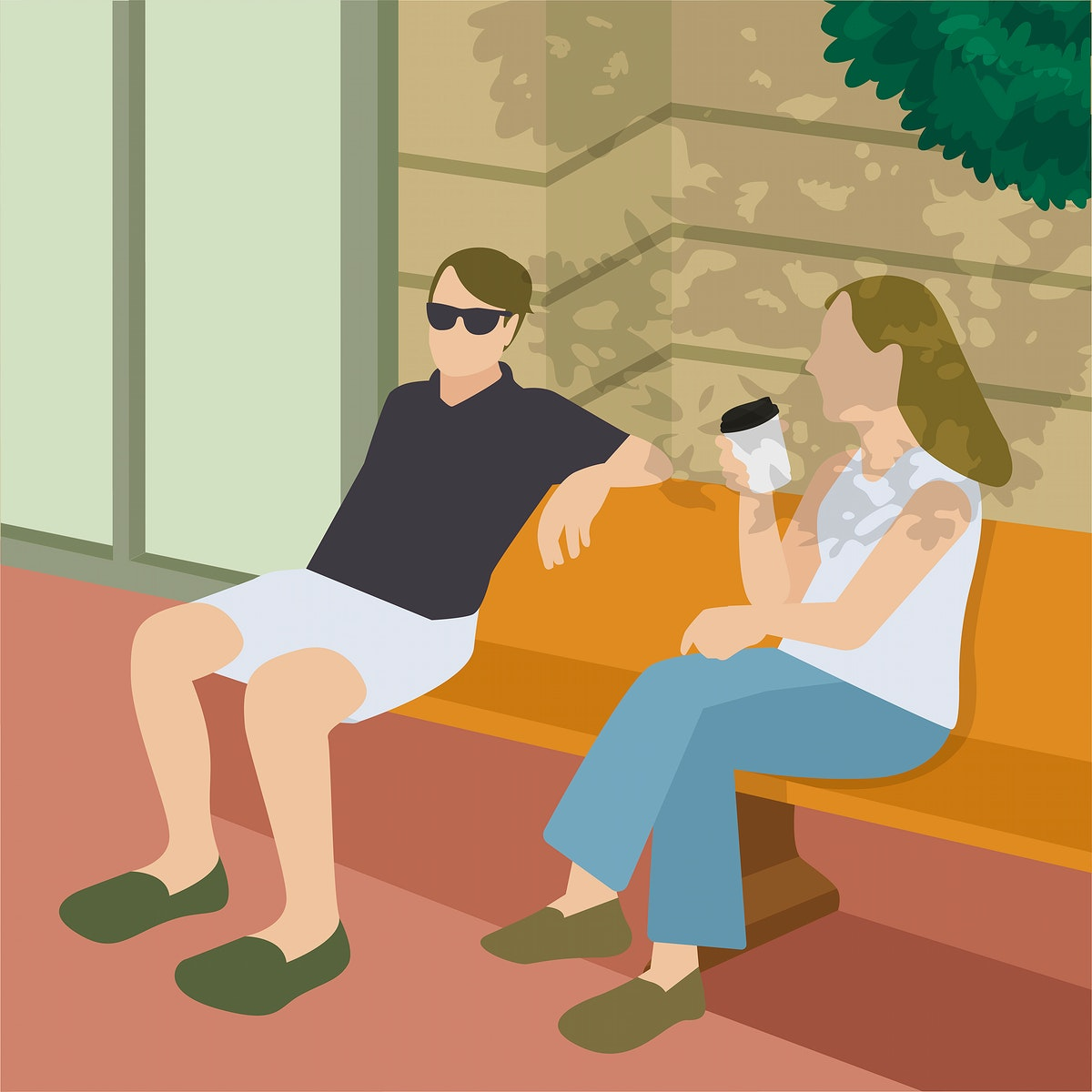 Friends having a coffee illustration