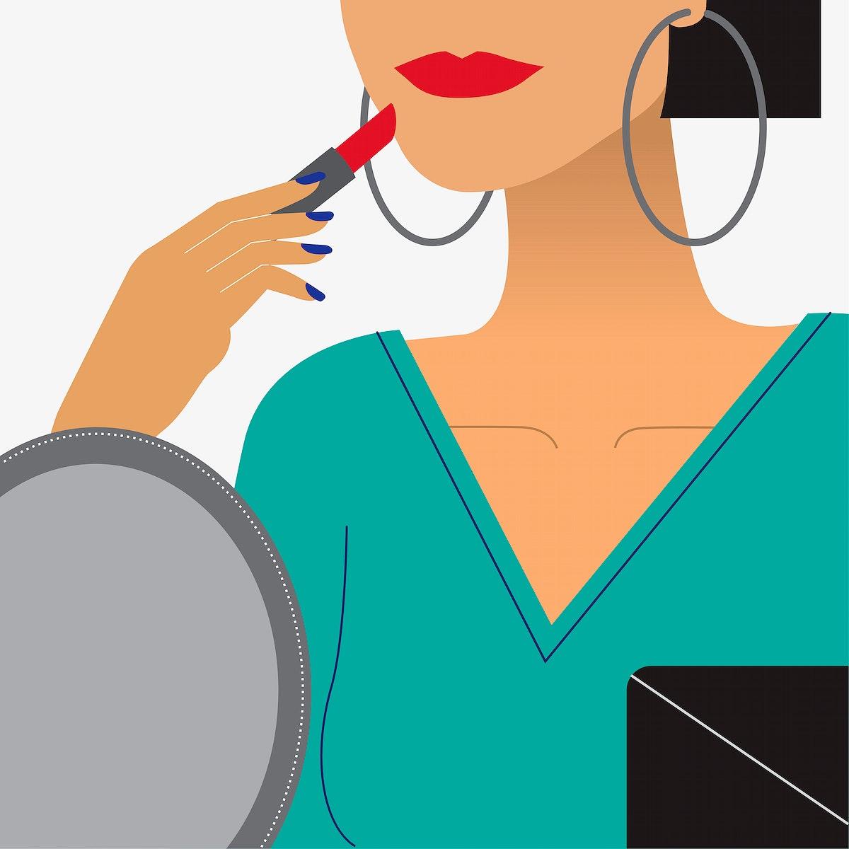 Woman putting on red lipstick illustration