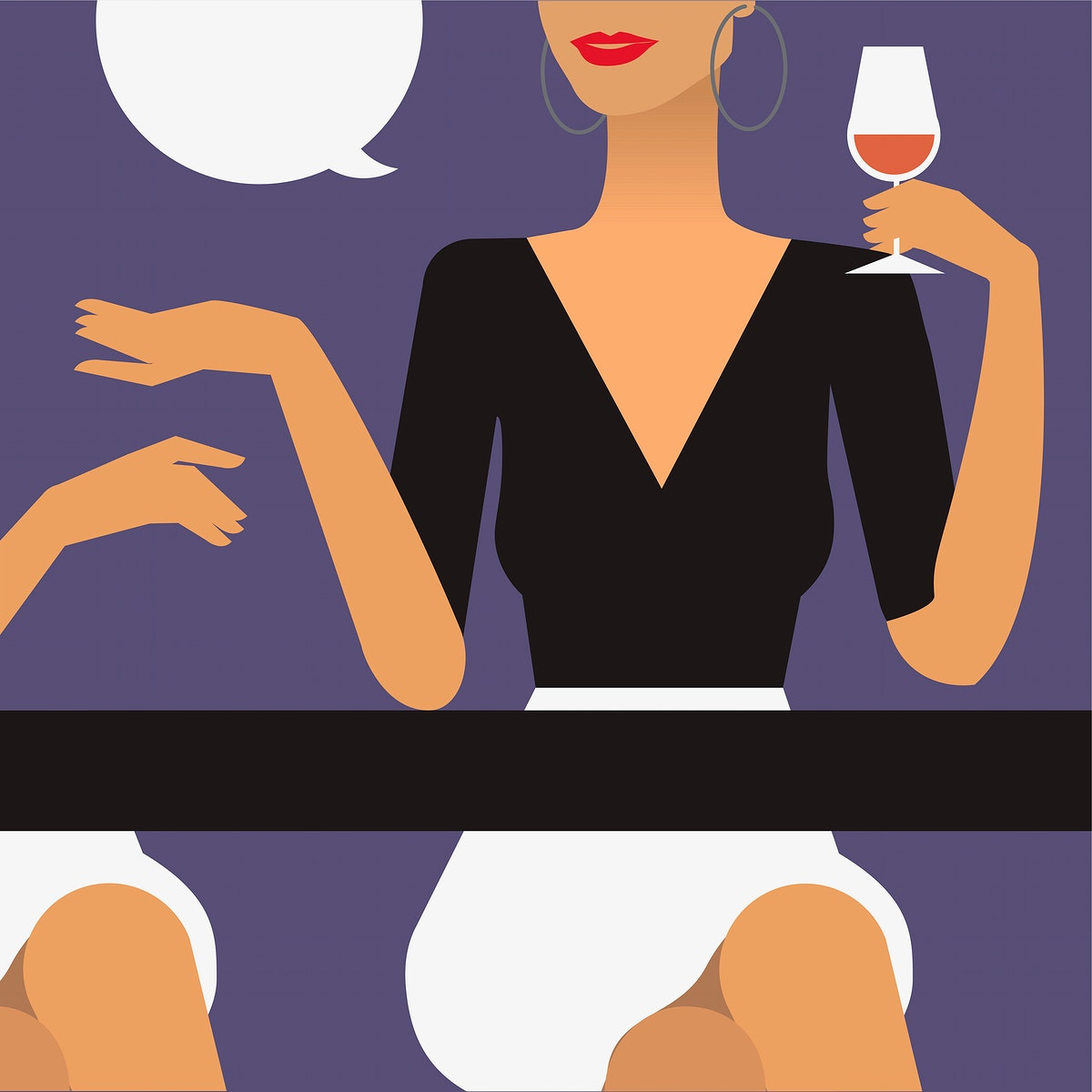 Woman at a party illustration
