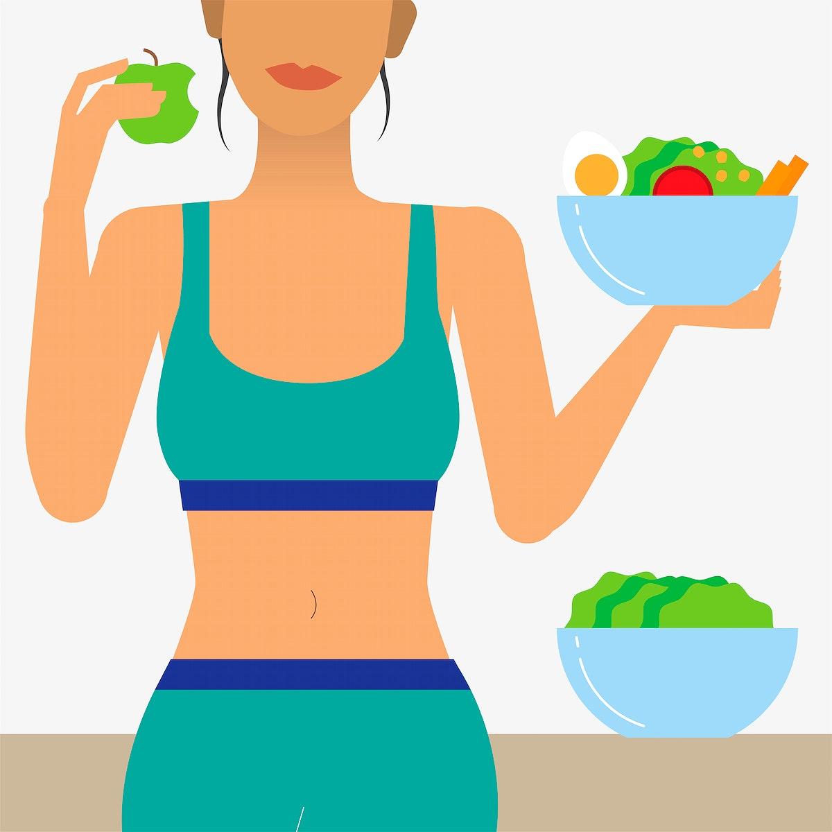 Woman eating healthy food illustration