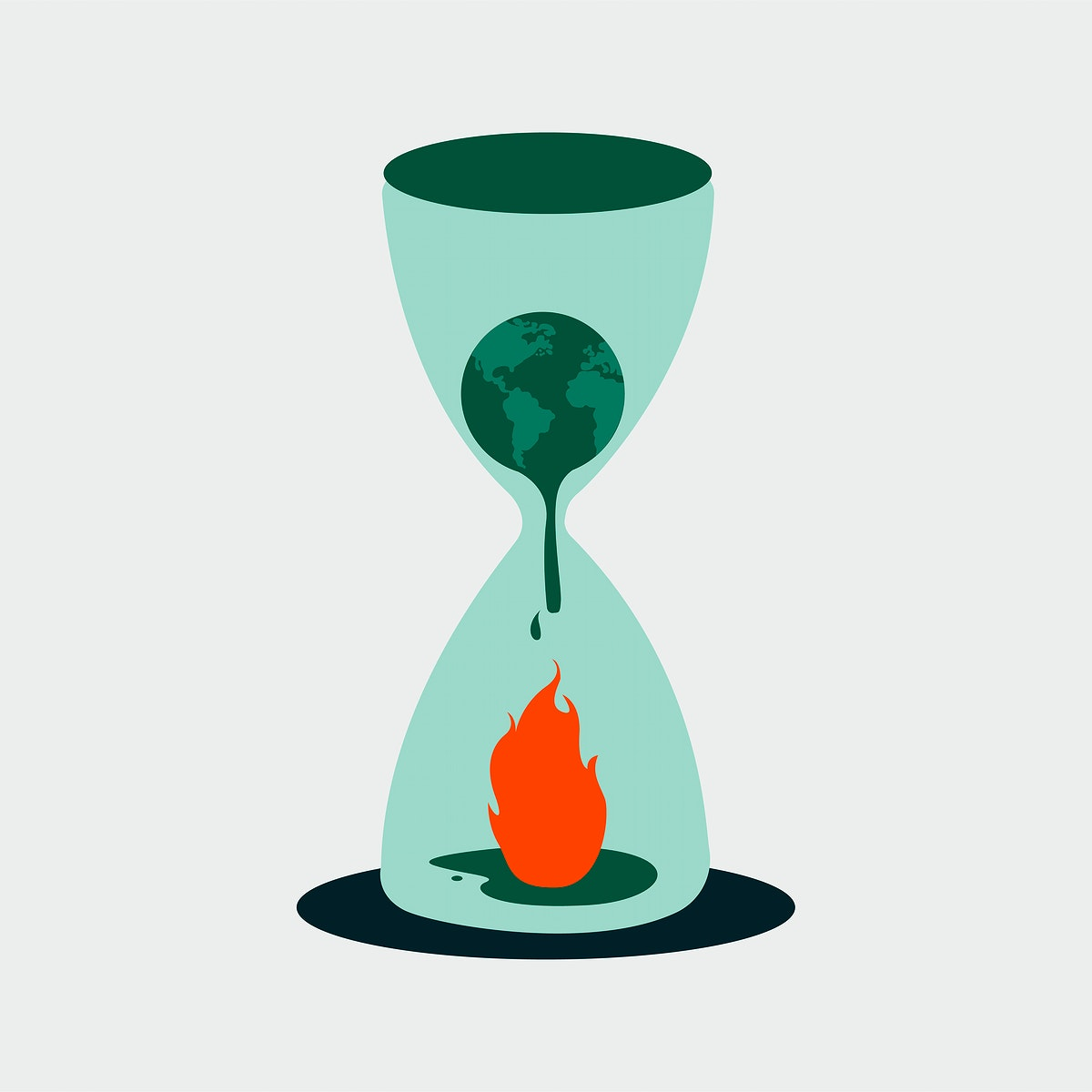 Earth melting in a hourglass with fire illustration