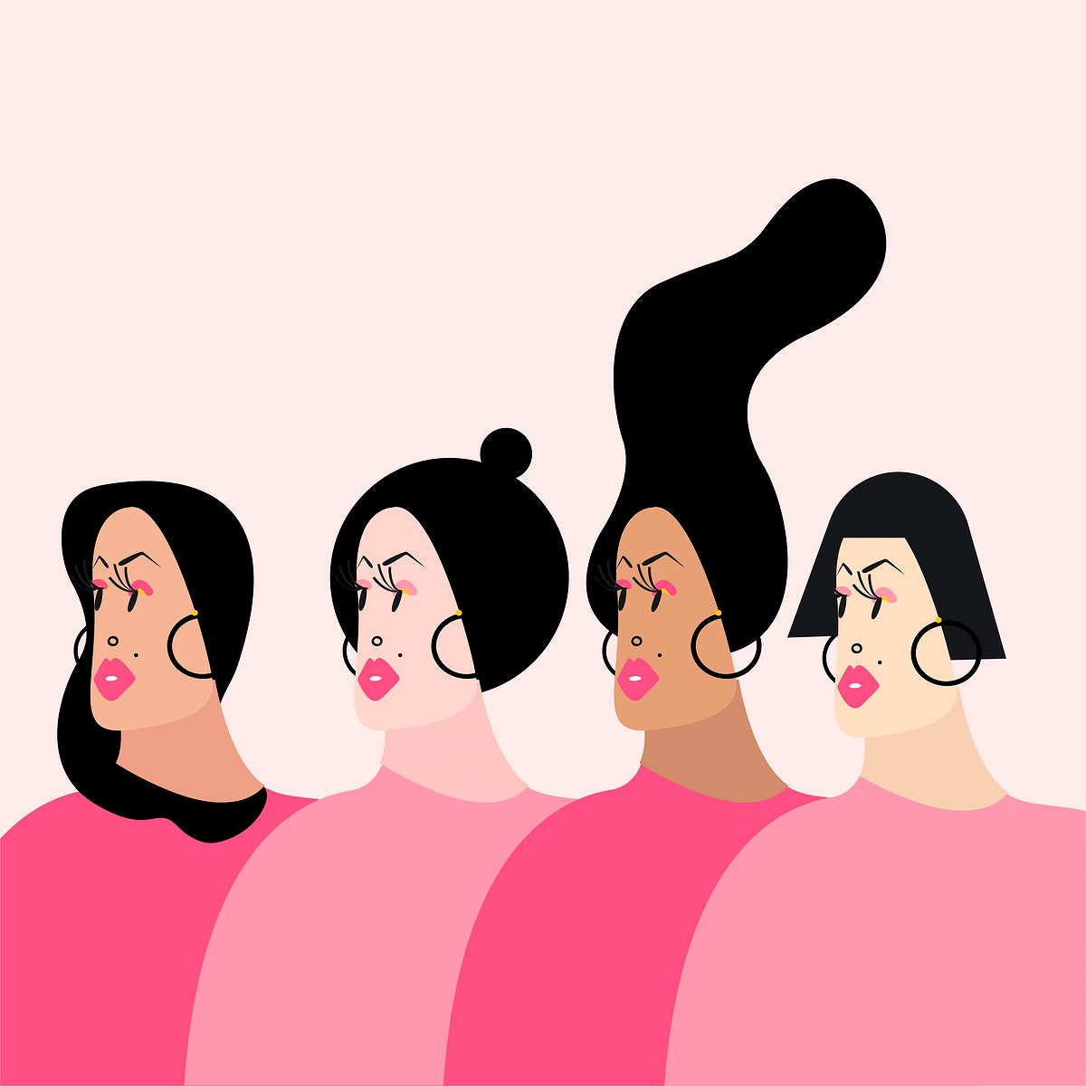 Women with various hairstyles vector illustration