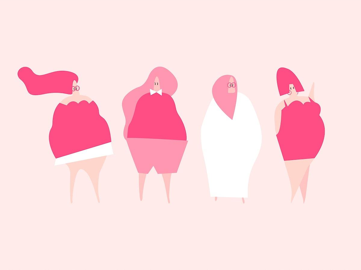 Happy plus size women vector