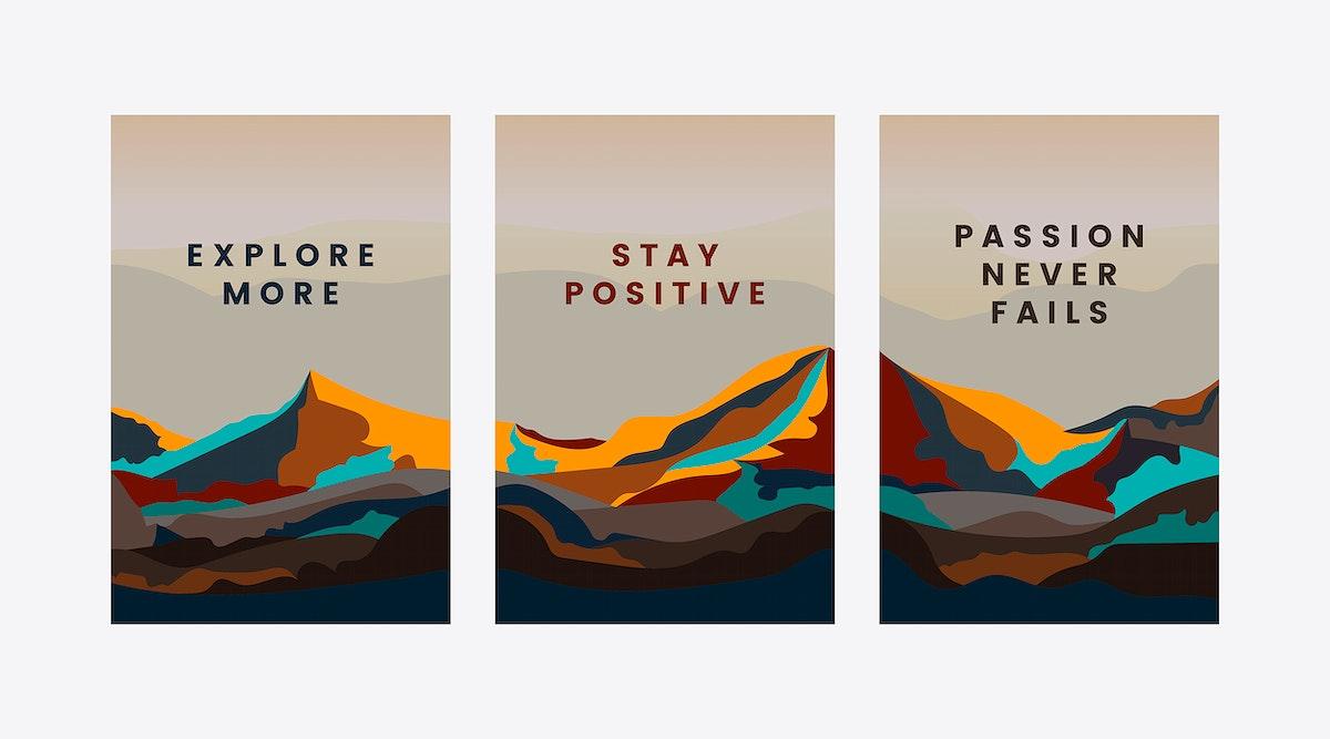 Set of mountain landscape design