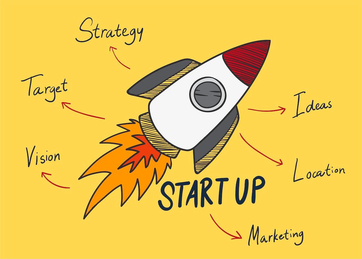 Startup words illustration
