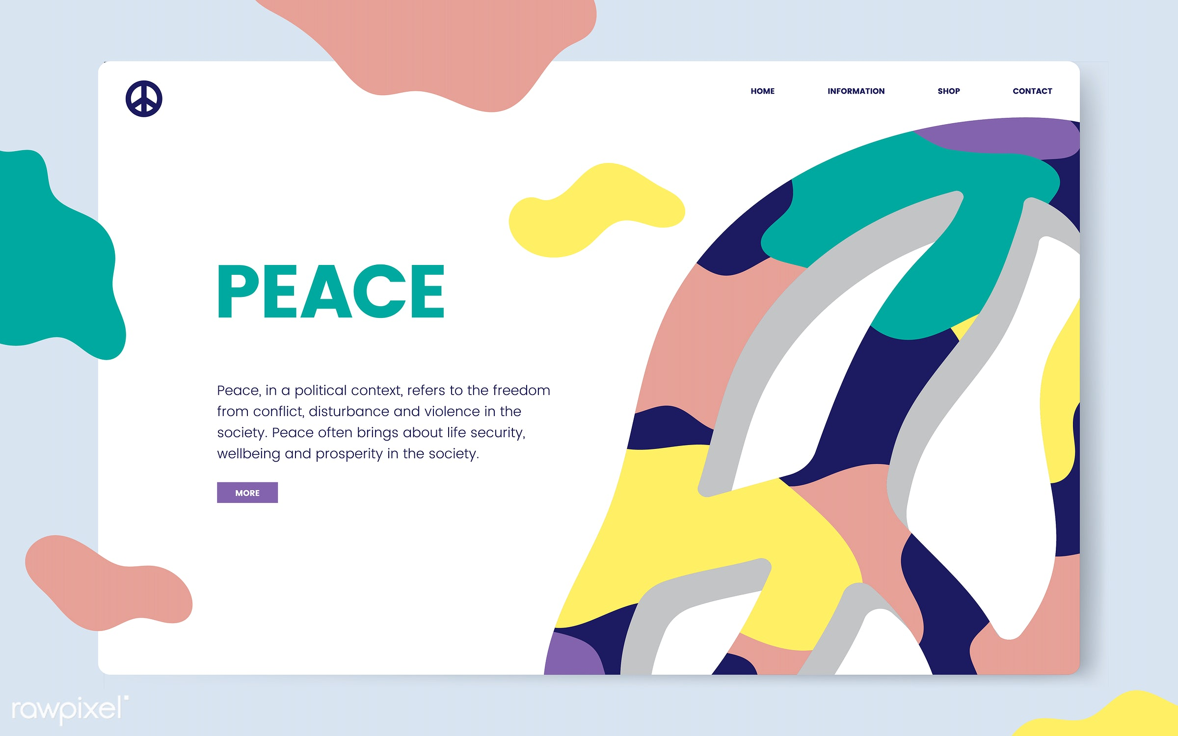 Peace and freedom informational website graphic - antiwar, blue background, calm, carefree, circle, counterculture, design,...