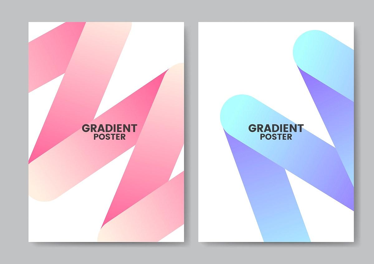 Neon zigzag gradient poster design