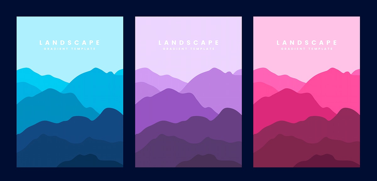 Colorful landscape gradient poster template