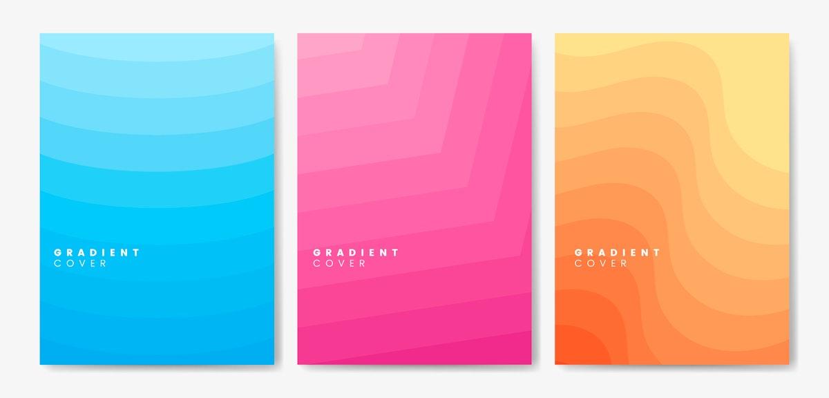 Set of gradient cover graphic designs
