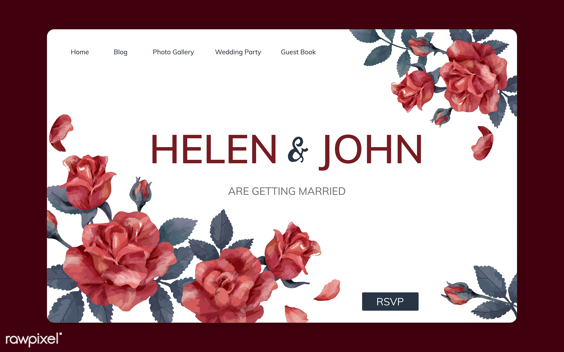 Wedding invitation website with a floral theme - ID: 466684