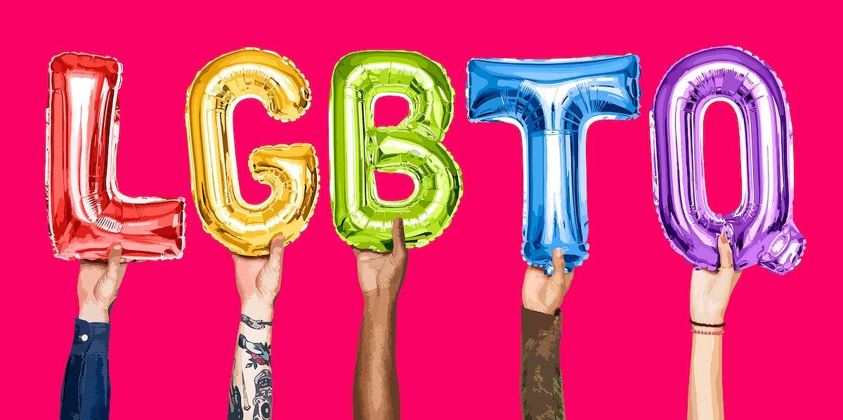 Hands holding the word LGBTQ illustration