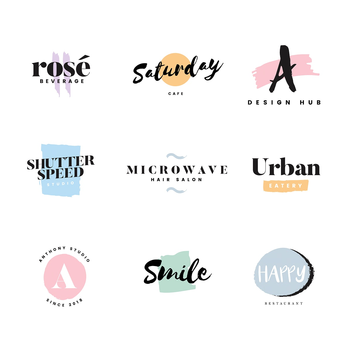 Collection of logos and branding vector