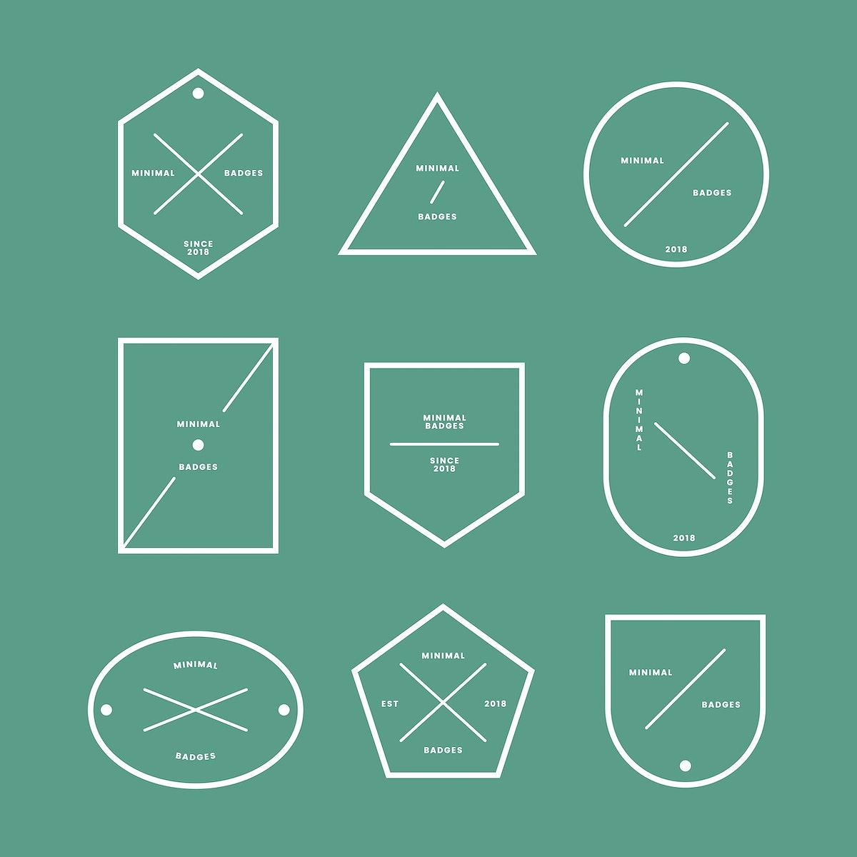 Set of minimal badges and labels