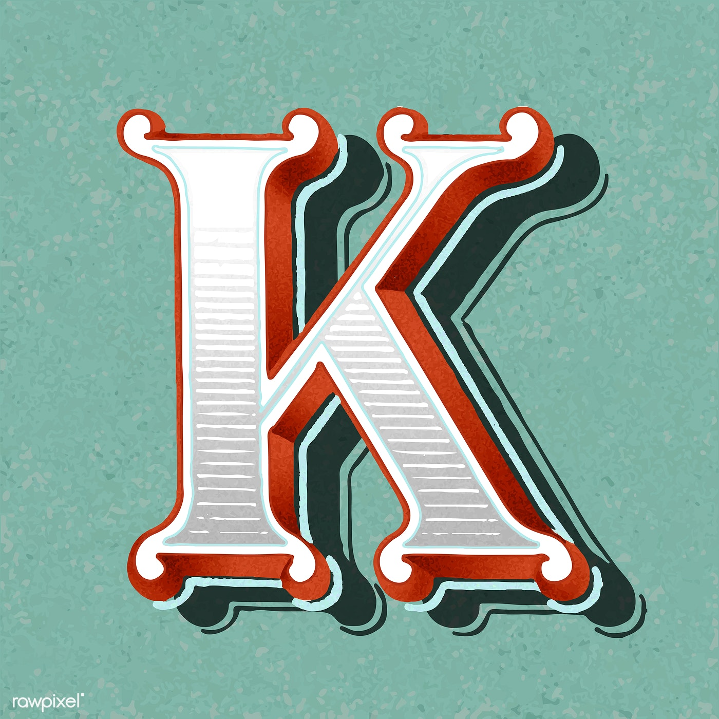Capital Letter K Vintage Typography Style Free Stock