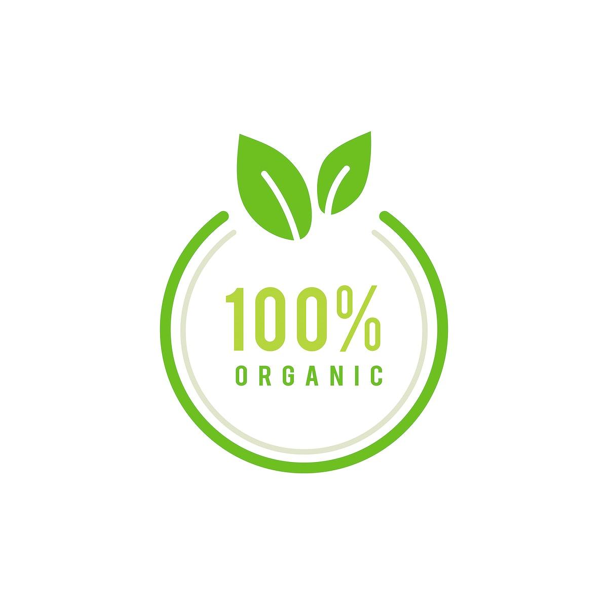 100 percent organic emblem illustration