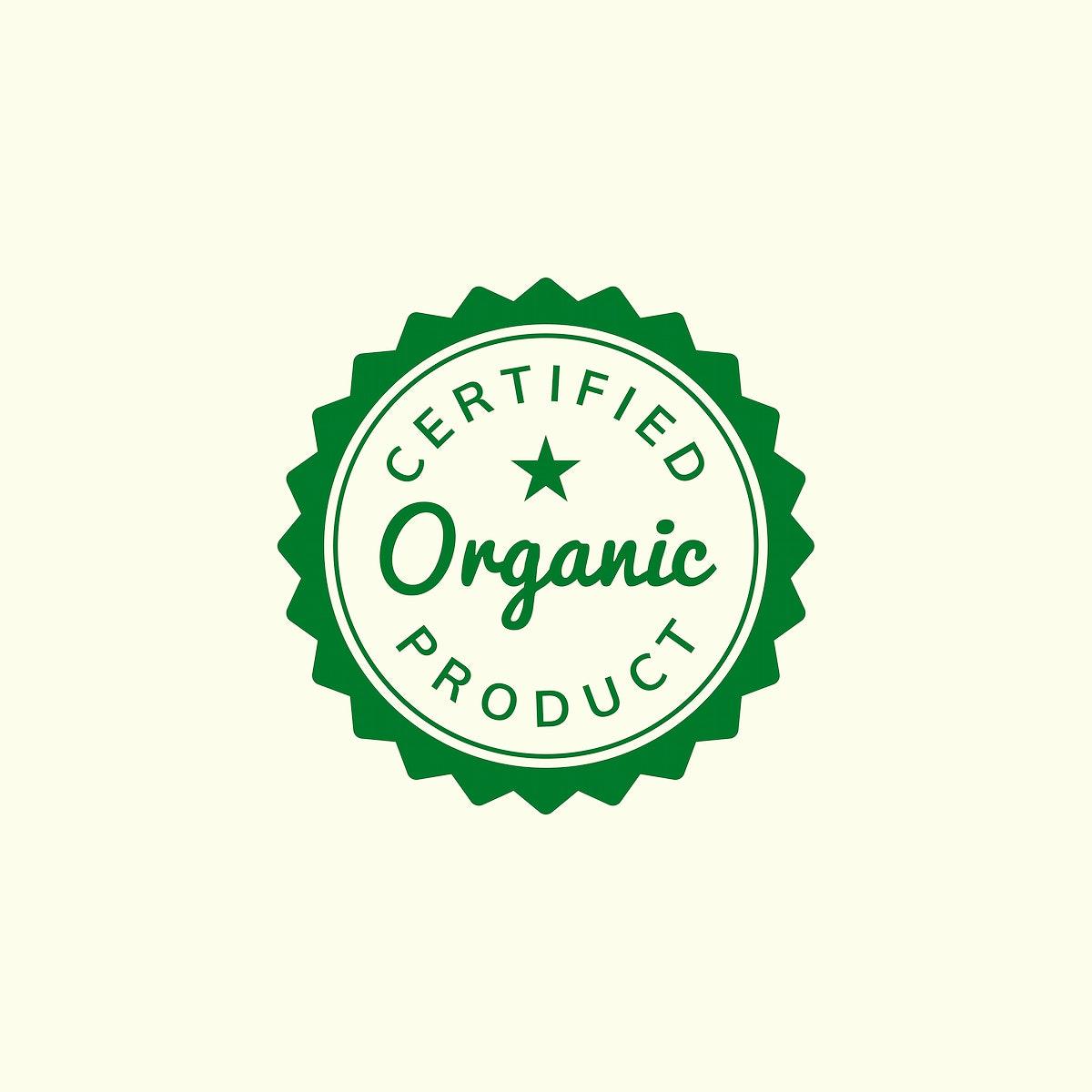 Certified organic product stamp emblem ilustration