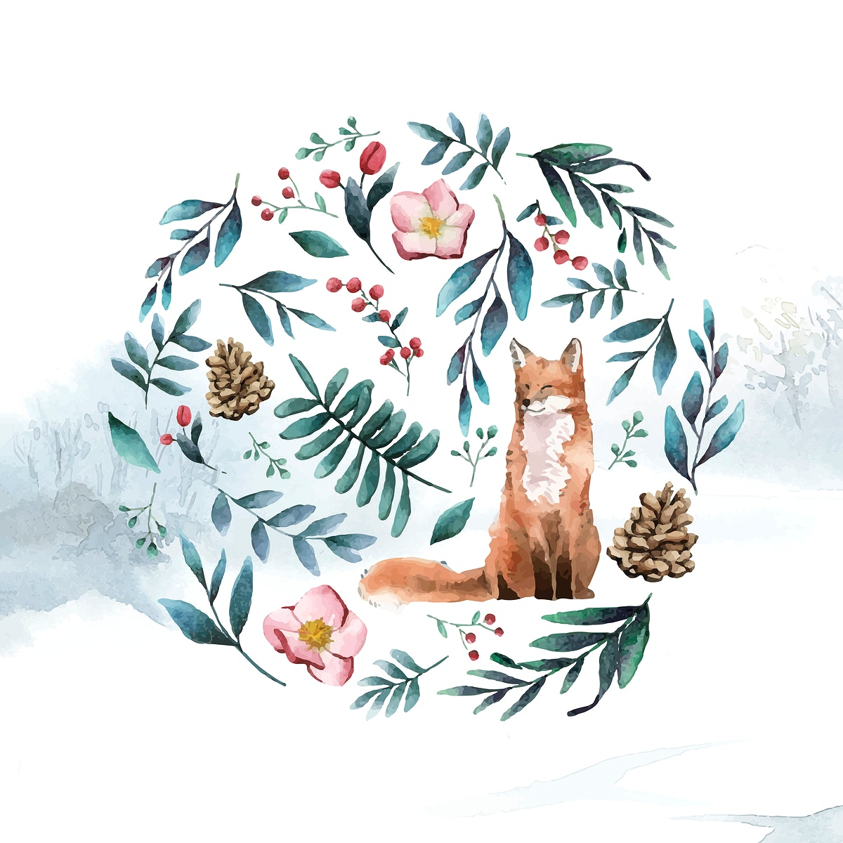 Fox in nature painted by watercolor