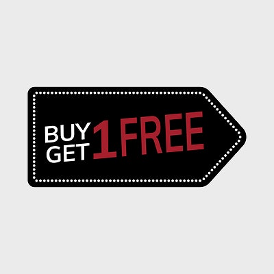 Buy one get one free promotional tag vector | Free stock