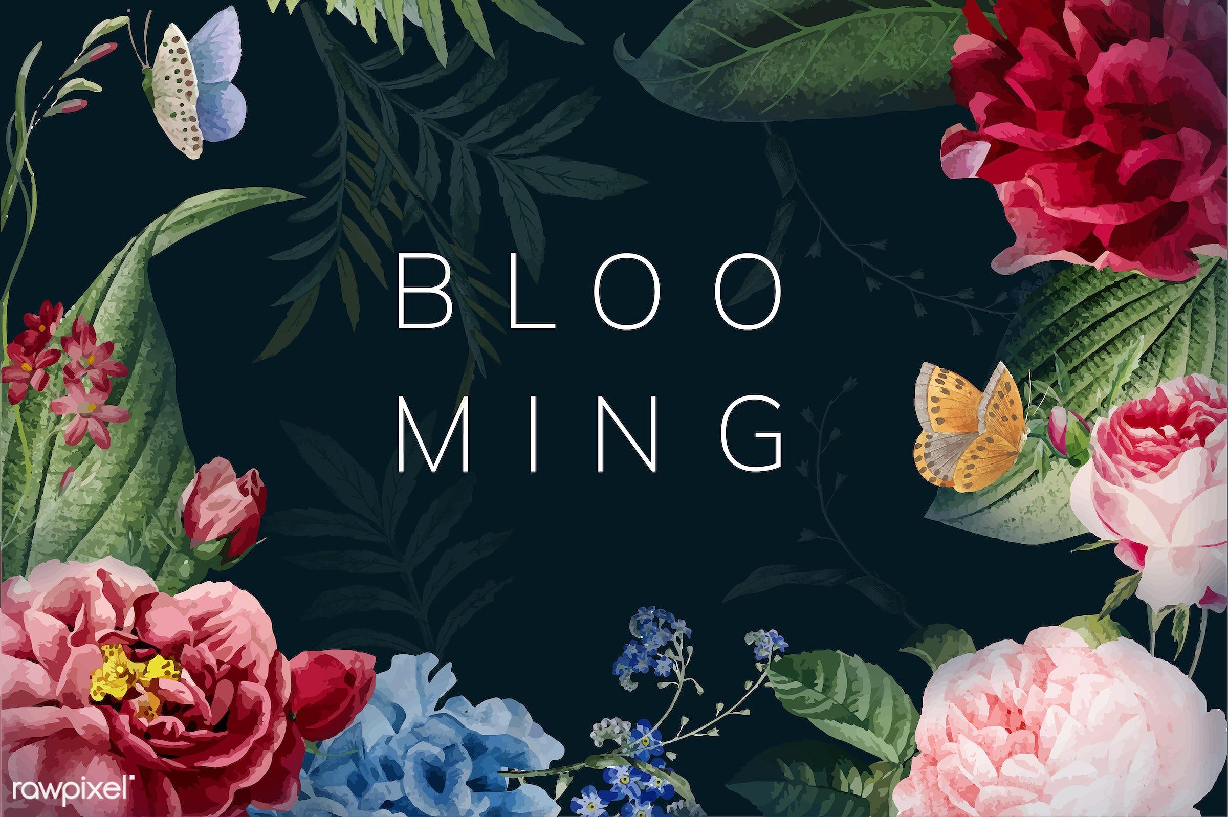Always blooming floral frame illustration - artwork, black, black background, blank space, bloom, blooming, botanic,...