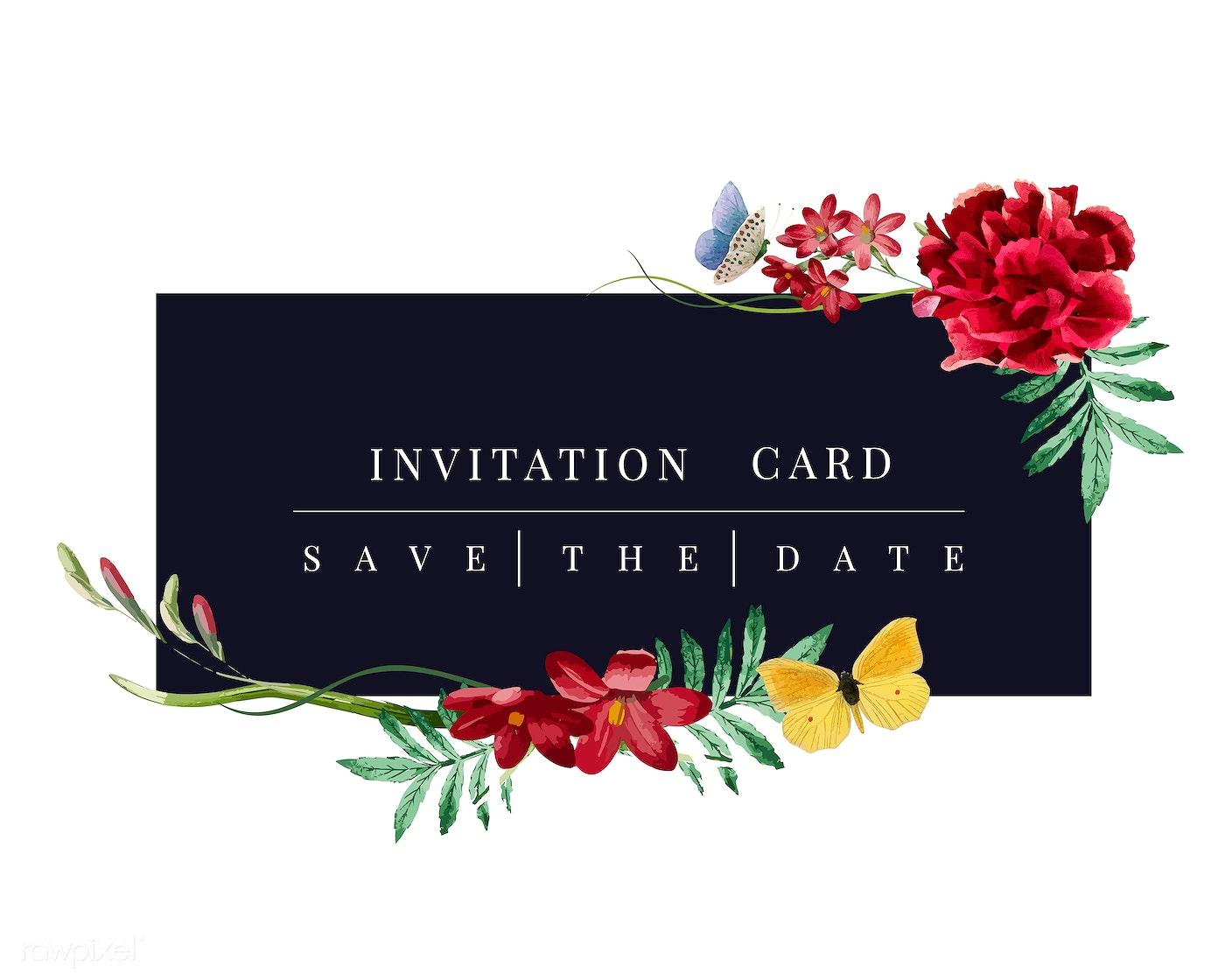 Download Premium Vector Of Floral Invitation Card Mockup Illustration
