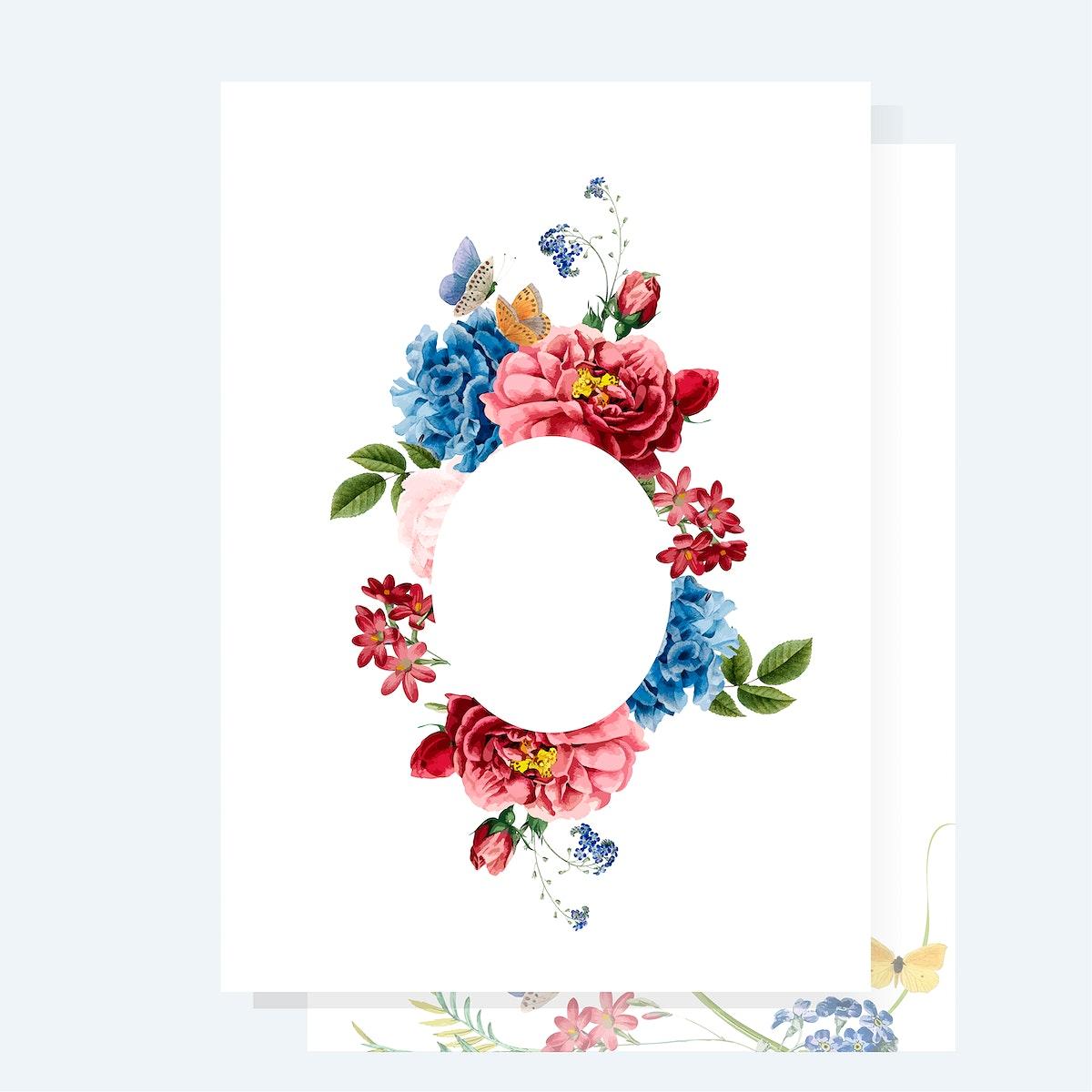 Floral invitation card mockup illustration
