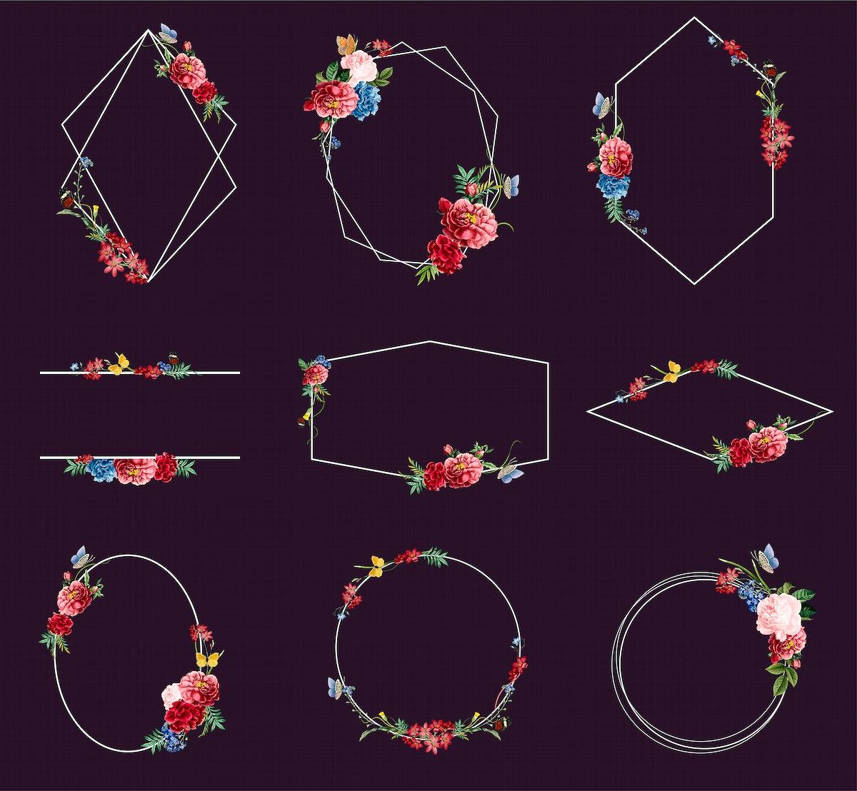 Set of floral frame illustrations