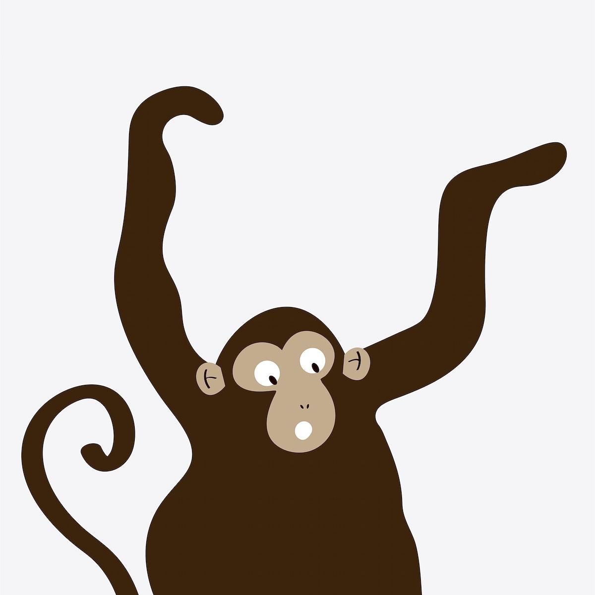 Excited monkey dancing cartoon vector