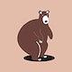 Brown grizzly bear animal psd cute wildlife cartoon sticker for kids