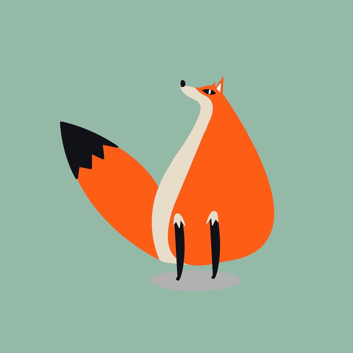 Orange fox animal psd cute wildlife cartoon sticker for kids
