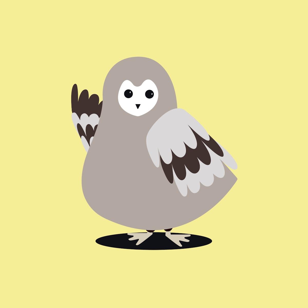 Owl animal psd cute wildlife cartoon sticker for kids