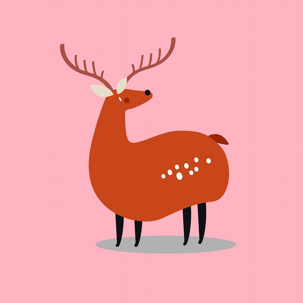 Brown deer animal psd cute wildlife cartoon sticker for kids