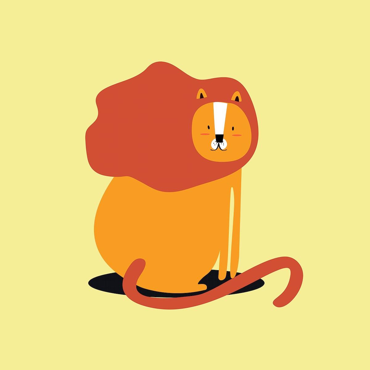 Lion animal psd cute wildlife cartoon sticker for kids