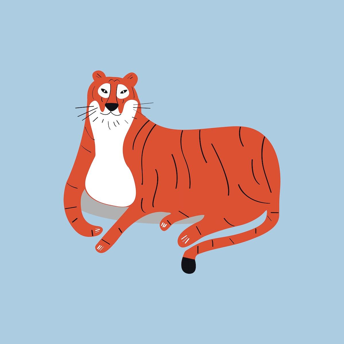 Orange tiger animal psd cute wildlife cartoon sticker for kids