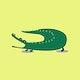 Green crocodile animal psd cute wildlife cartoon sticker for kids