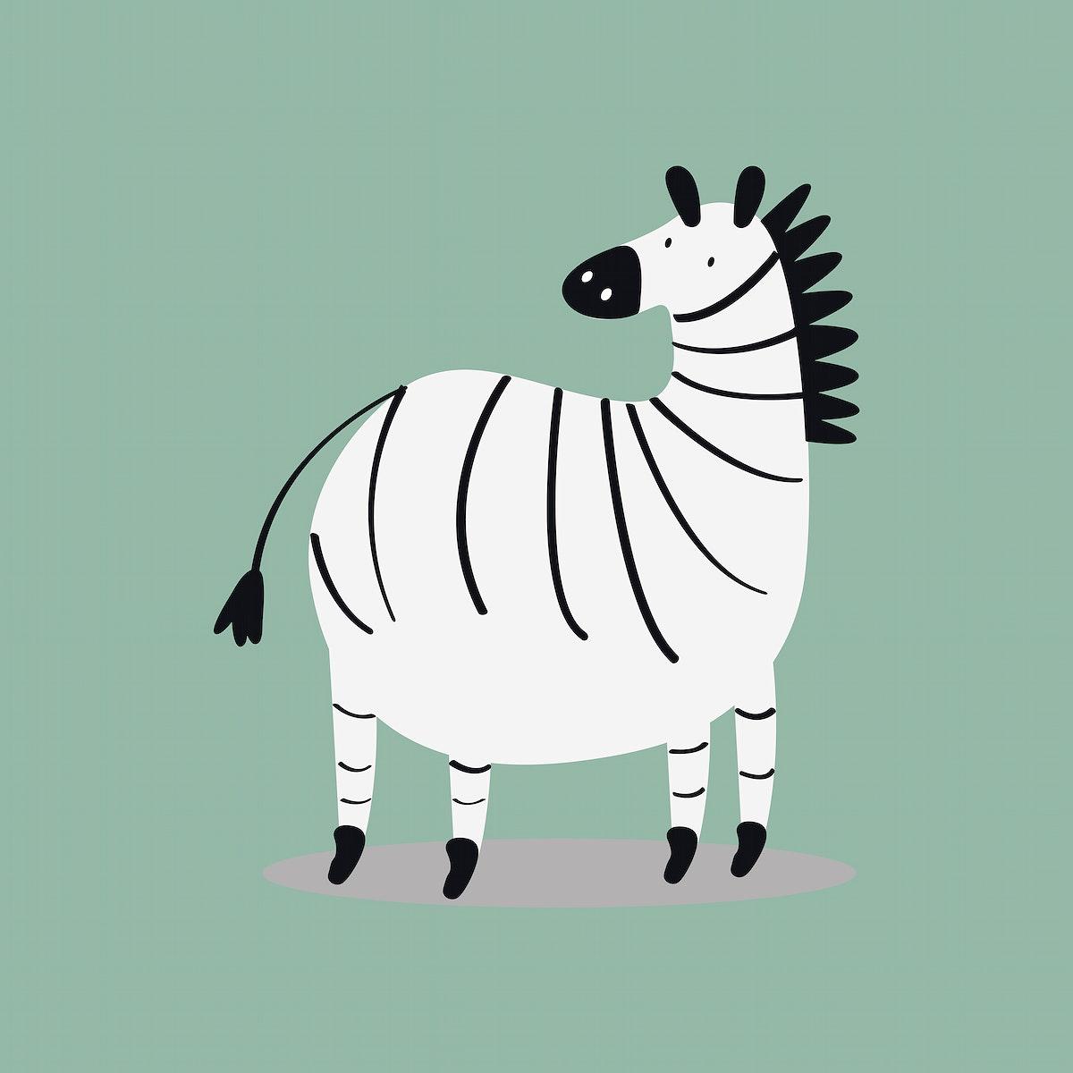 Zebra animal cute wildlife cartoon illustration for kids