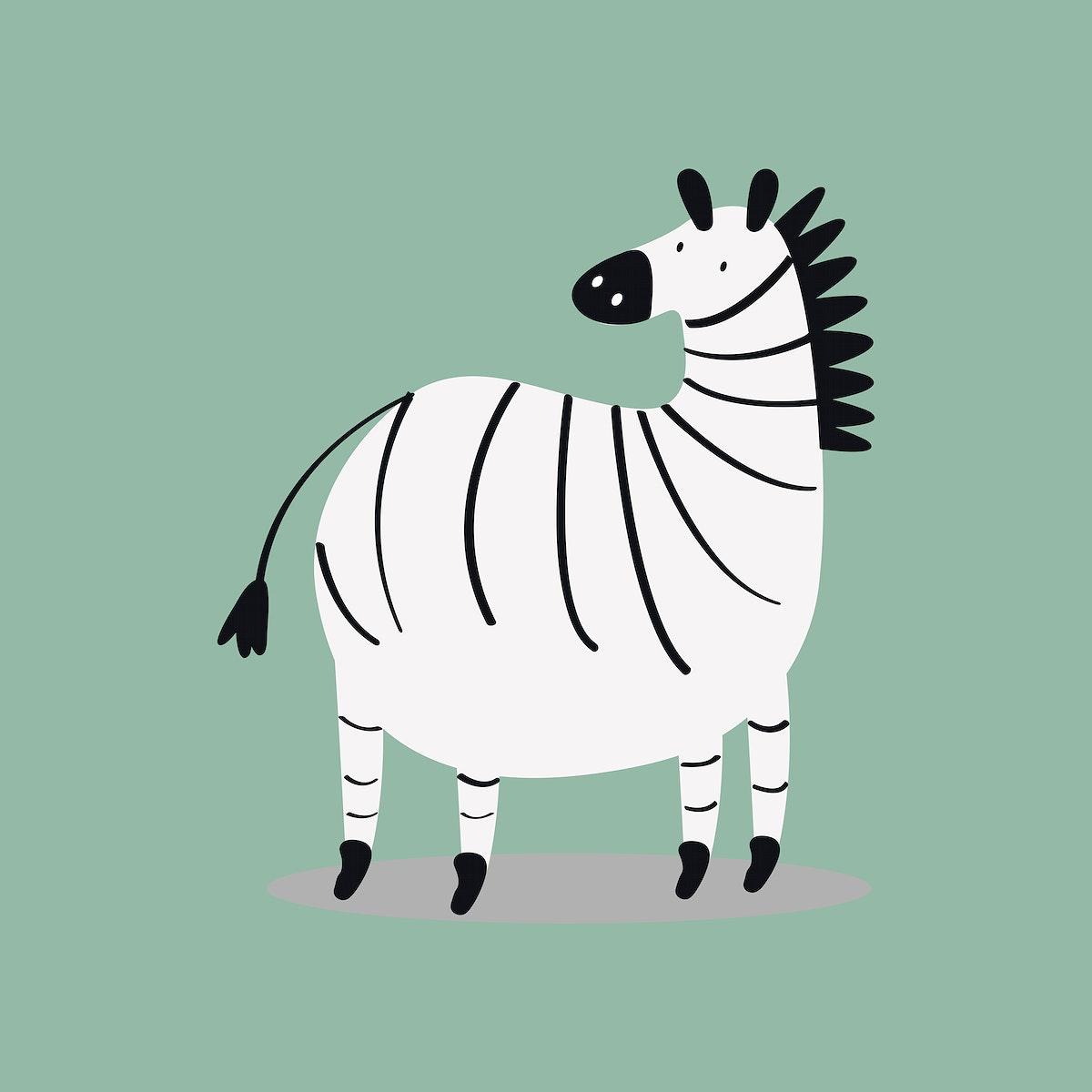 Zebra animal psd cute wildlife cartoon sticker for kids