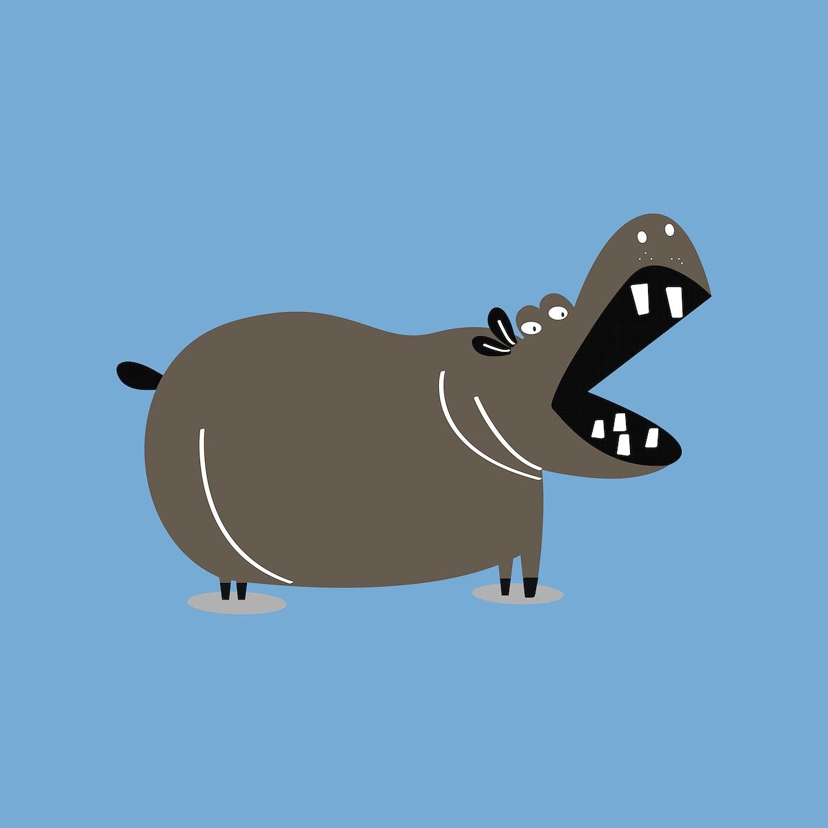 Cute hippopotamus animal psd doodle sticker in black for kids