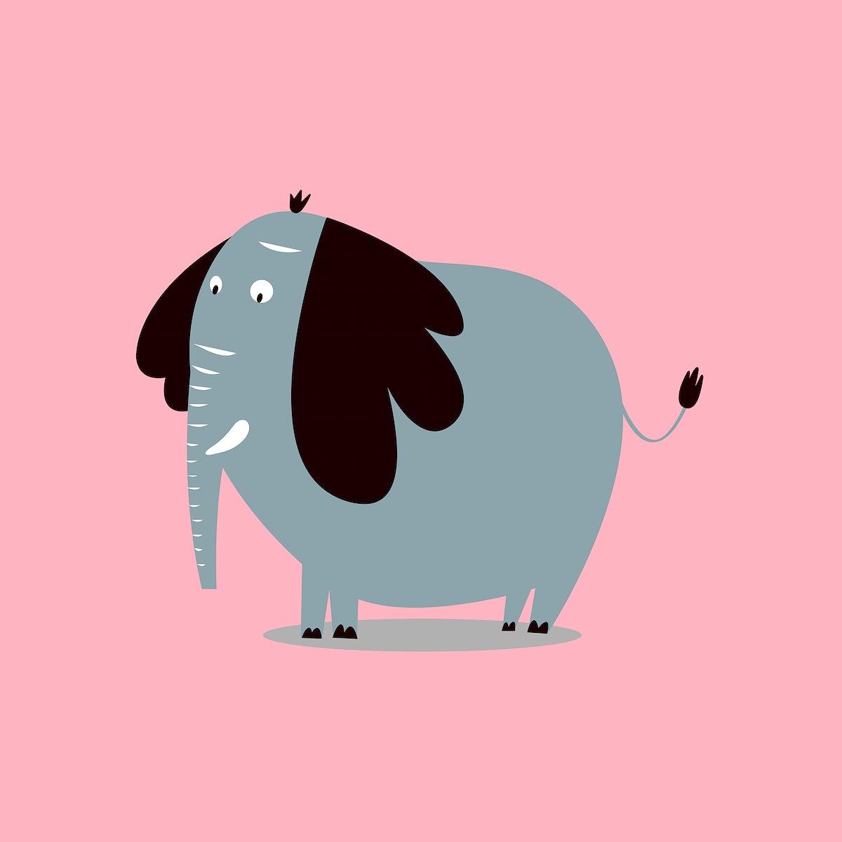Cute elephant animal psd doodle sticker for kids