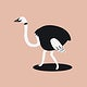 Cute ostrich animal psd doodle sticker in black for kids