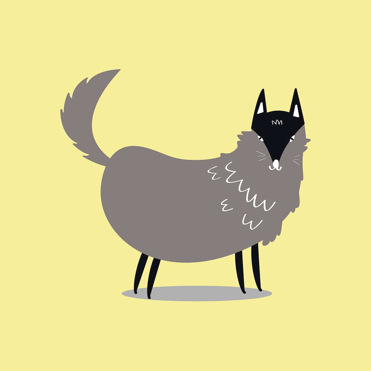 Cute wolf animal psd doodle sticker in gray for kids