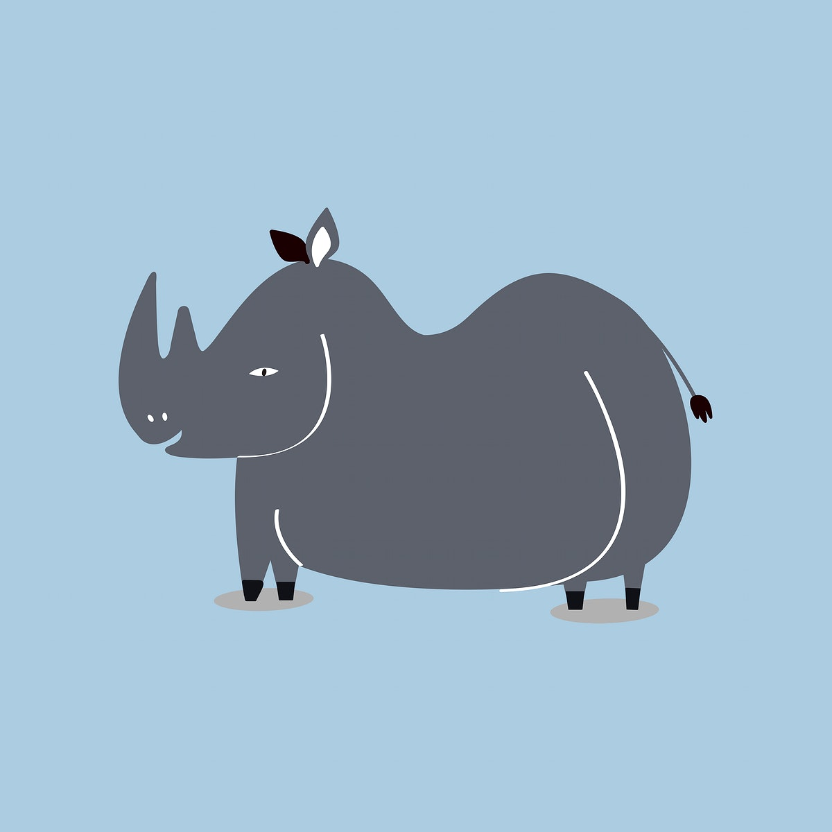 Cute rhino animal psd doodle sticker for kids