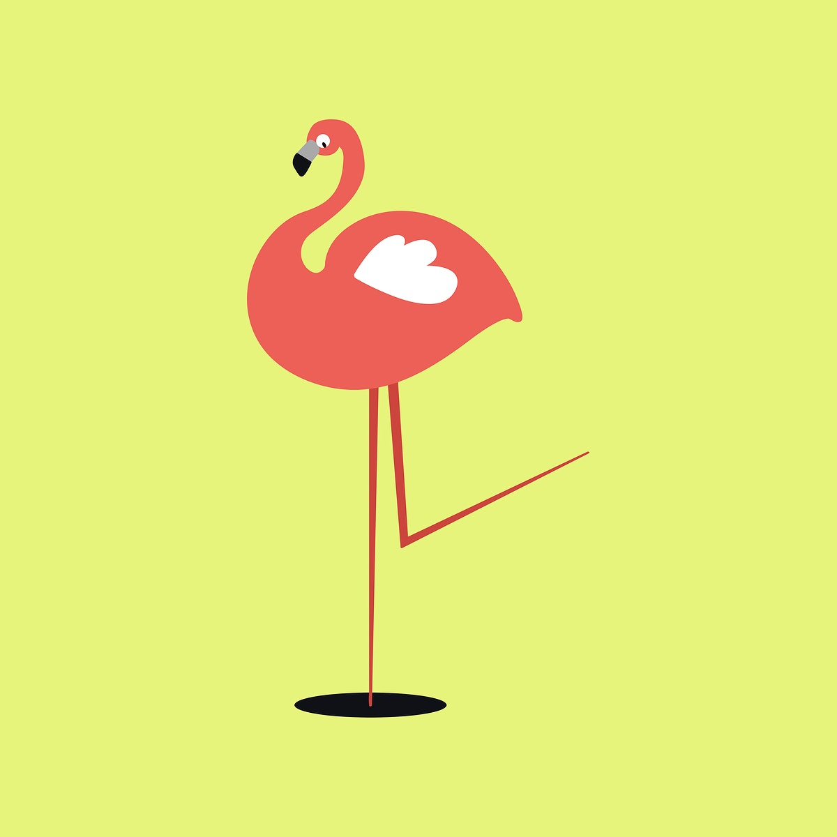 Cute flamingo animal psd doodle sticker in pink for kids