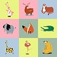 Cute animal stickers psd colorful wildlife doodle for kids collection