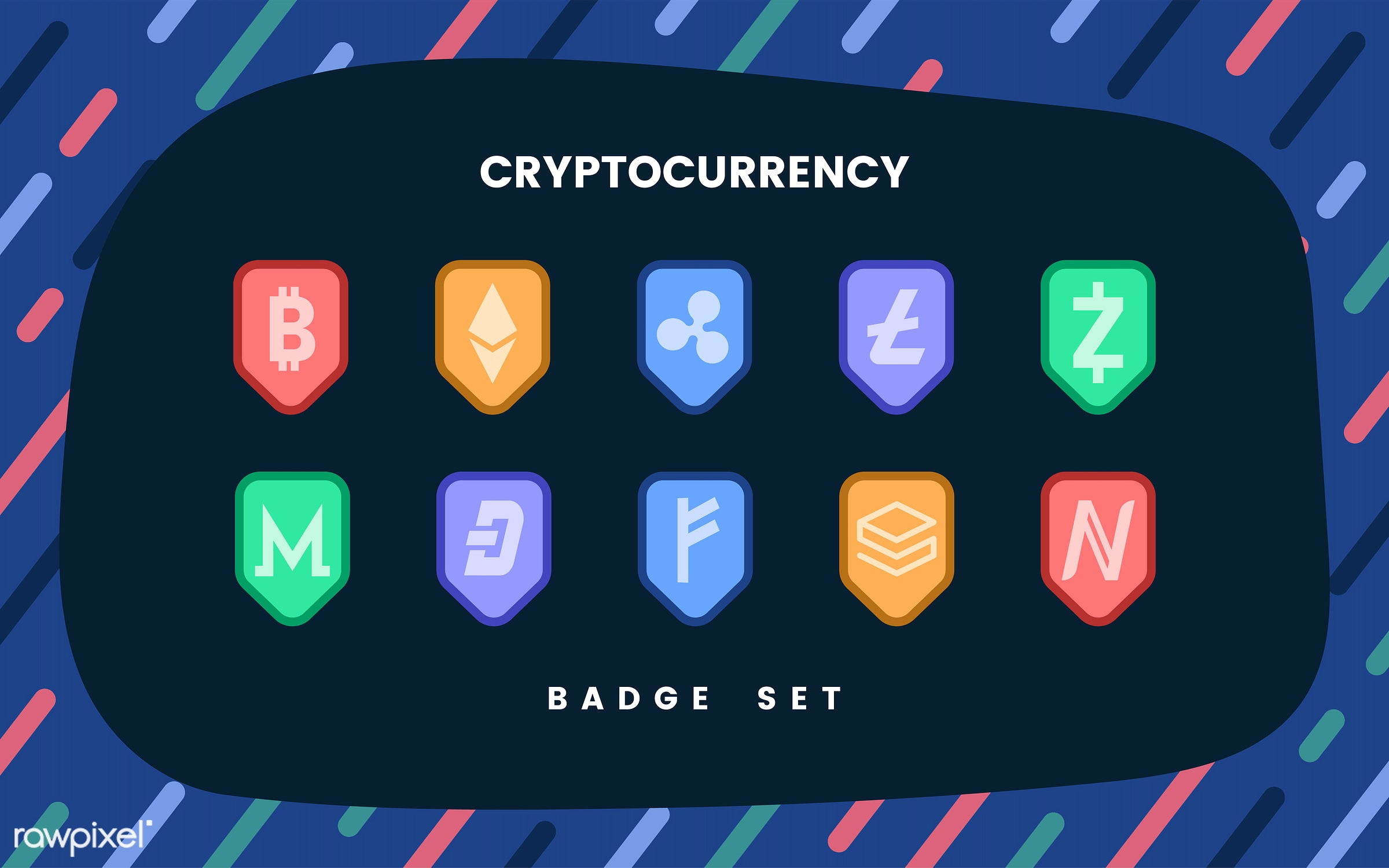 Set Of Various Cryptocurrencies Electronic Cash Symbol Vector Id