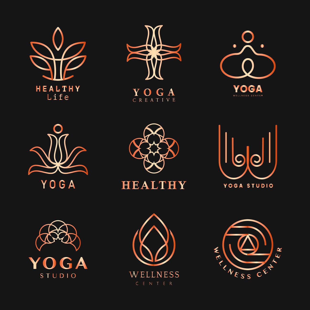 Set Of Yoga Logo Vector Royalty Free Vector 484392