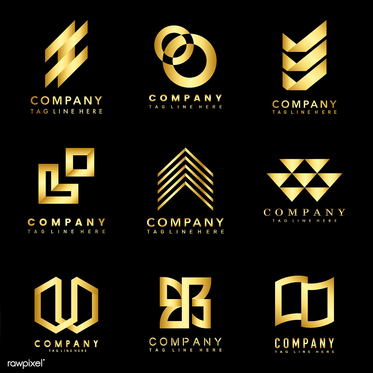 Download premium illustration of Set of company logo design ideas vector